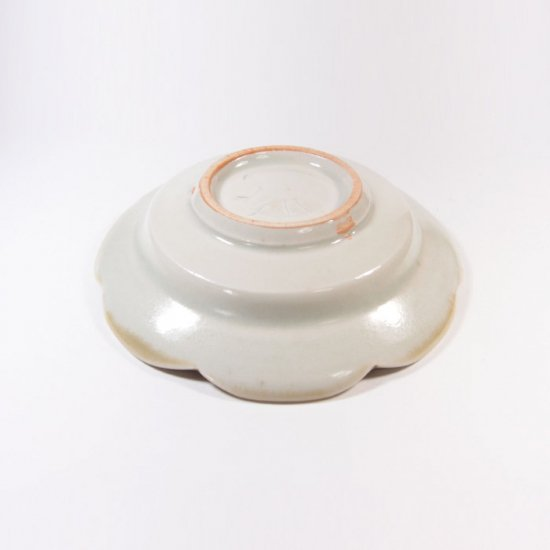 水谷和音│しのぎ輪花リム4寸皿(灰釉)