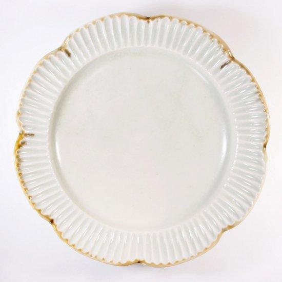 水谷和音│しのぎ輪花リム6.5寸皿(灰釉)