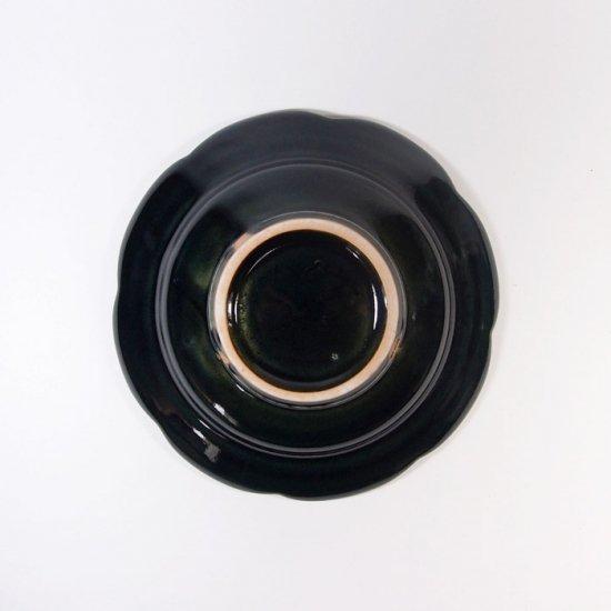 水谷和音│しのぎ輪花リム4寸皿(瑠璃釉)