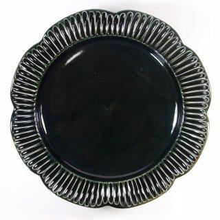 水谷和音│しのぎ輪花リム6.5寸皿(瑠璃釉)
