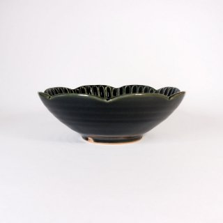 水谷和音│しのぎ輪花4寸鉢(瑠璃釉)