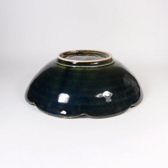 水谷和音│しのぎ輪花5寸鉢(瑠璃釉)