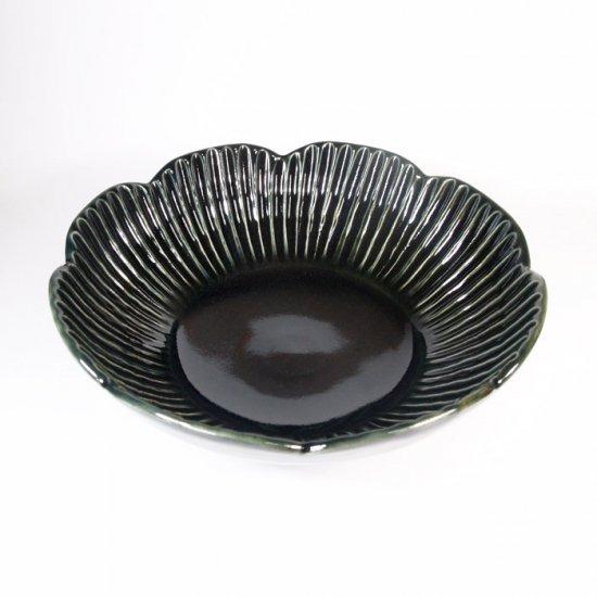 水谷和音│しのぎ輪花6寸鉢(瑠璃釉)