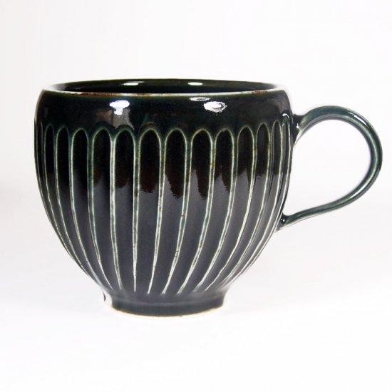 水谷和音│しのぎ丸マグカップ(瑠璃釉)
