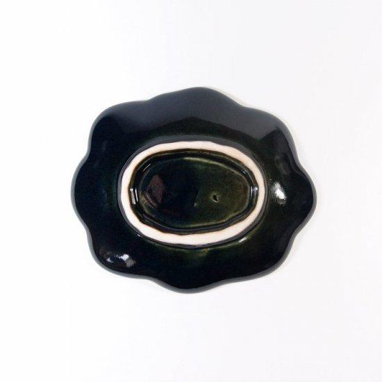 水谷和音│変形小皿(瑠璃釉)