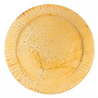 町田裕也|しのぎリム皿 7寸 黄