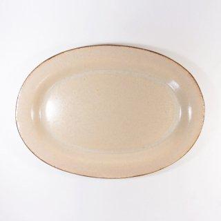 立原 亜紀子|オーバル皿  ホワイト(クリーム)(糠白釉)