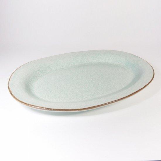 立原 亜紀子|オーバル皿  水色(水色釉)
