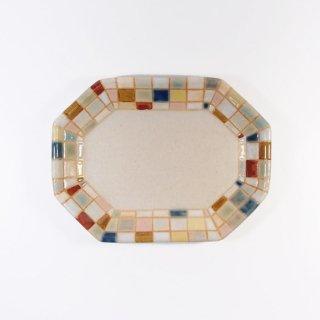 古川真紀子|モザイクタイル文様 八角豆皿