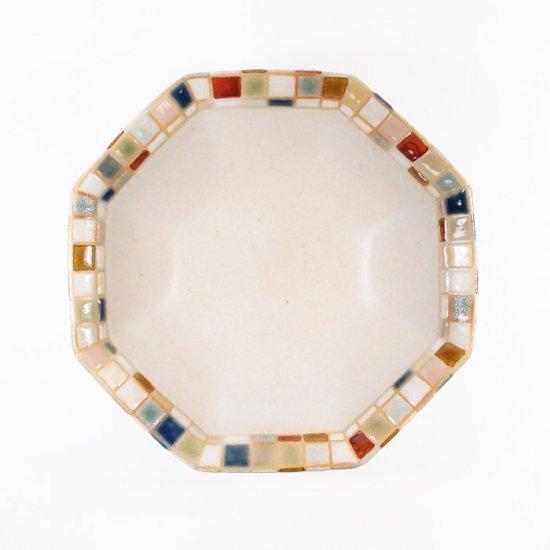 古川真紀子|モザイクタイル文様 八角鉢