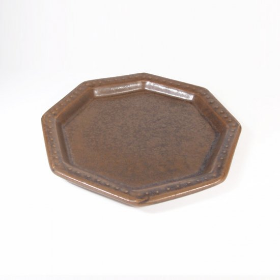 豊田雅代|鋳込 八角皿(大) ブロンズ