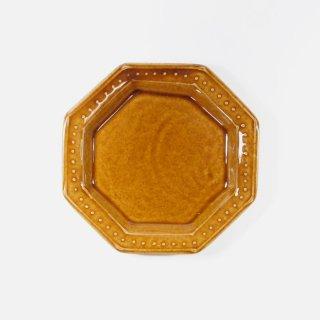 豊田雅代|鋳込 八角皿(中) 飴色