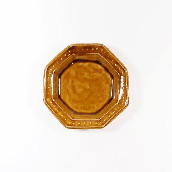 豊田雅代|鋳込 八角皿(小) 飴色