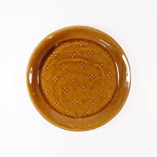 豊田雅代|鋳込 絵皿A(小) 飴色