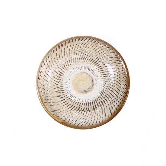 黒木富雄窯(小鹿田焼)|3.5寸皿 飛び鉋 白