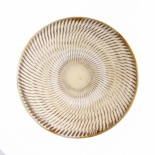 黒木富雄窯(小鹿田焼)|6寸皿 飛び鉋 白