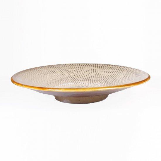 黒木富雄窯(小鹿田焼)|7寸皿 飛び鉋 白