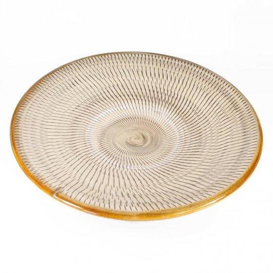 黒木富雄窯(小鹿田焼)|8寸皿 飛び鉋 白