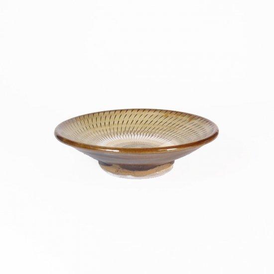 黒木富雄窯(小鹿田焼)|3.5寸皿 飛び鉋 緑