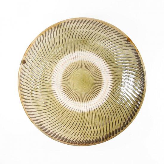 黒木富雄窯(小鹿田焼)|6寸皿 飛び鉋 緑