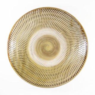黒木富雄窯(小鹿田焼)|7寸皿 飛び鉋 緑