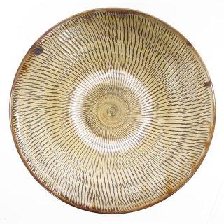 黒木富雄窯(小鹿田焼)|8寸皿 飛び鉋 緑