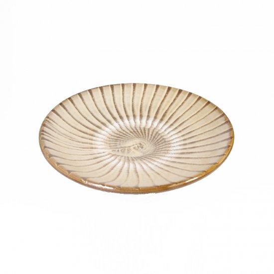 黒木富雄窯(小鹿田焼)|5寸皿 刷毛目 白