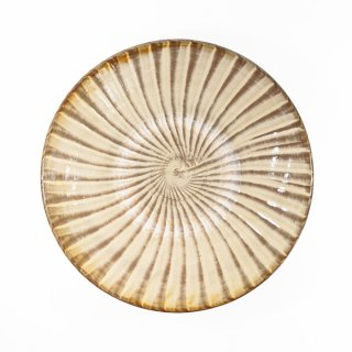 黒木富雄窯(小鹿田焼)|6寸皿 刷毛目 白