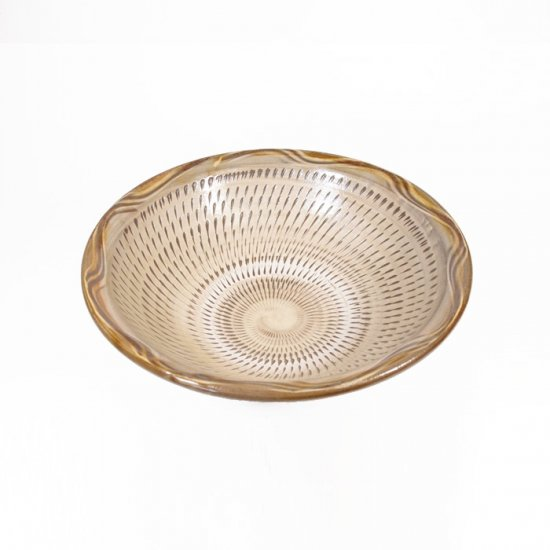 黒木富雄窯(小鹿田焼)|5寸中深皿  飛び鉋(フチに櫛目) 白