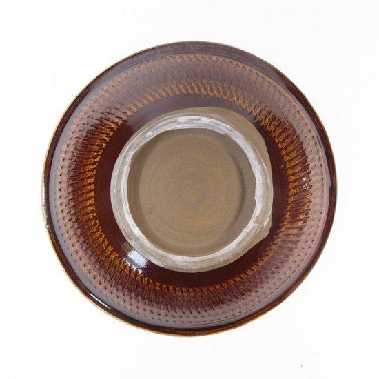 黒木富雄窯(小鹿田焼)|6寸中深皿 飛び鉋(フチに櫛目) 白