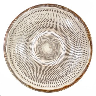 黒木富雄窯(小鹿田焼)|8寸中深皿 飛び鉋(フチに櫛目) 白
