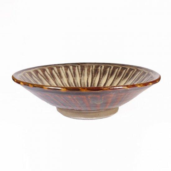 黒木富雄窯(小鹿田焼)|7寸中深皿 刷毛目(フチに櫛目) 白