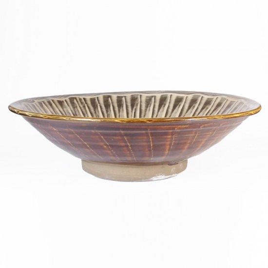 黒木富雄窯(小鹿田焼)|8寸中深皿 刷毛目(フチに櫛目) 白