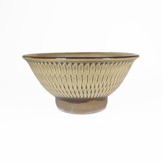 黒木富雄窯(小鹿田焼)|4寸飯碗 飛び鉋 緑