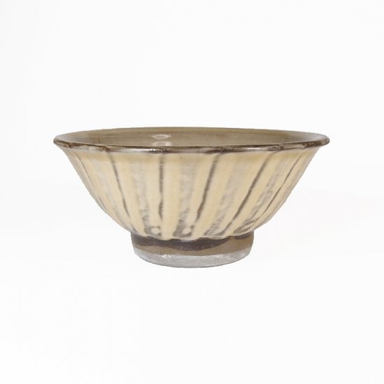 黒木富雄窯(小鹿田焼)|4寸飯碗 刷毛目 白