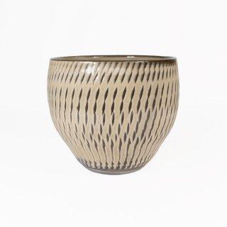 黒木富雄窯(小鹿田焼)|丸フリーカップ 飛び鉋 白