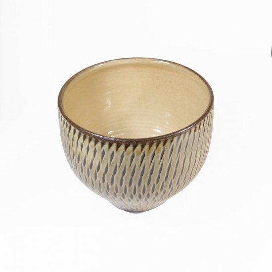 黒木富雄窯(小鹿田焼)|丸フリーカップ 飛び鉋 緑
