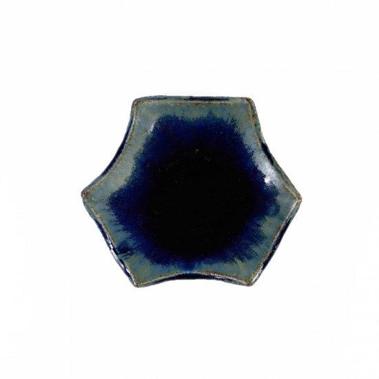 河内啓|六角豆皿 ルリ釉