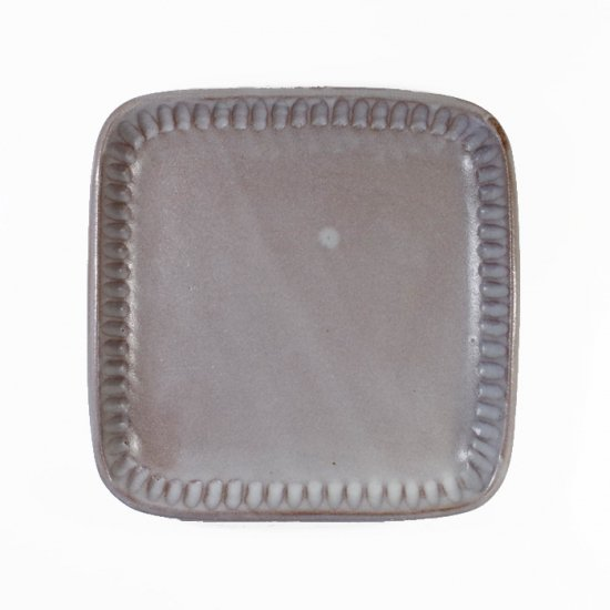 京野桂|角皿 ホワイト(グレー)