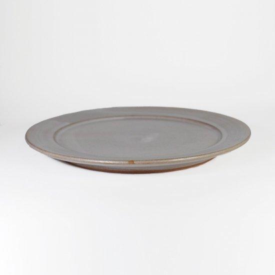 京野桂|リム皿(L) 6寸 ホワイト(グレー)