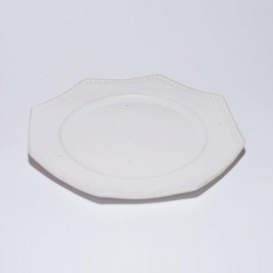 吉田健宗   白釉 オクトゴナル皿(小)