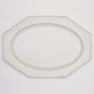 吉田健宗 | 白釉  オクトゴナル長皿