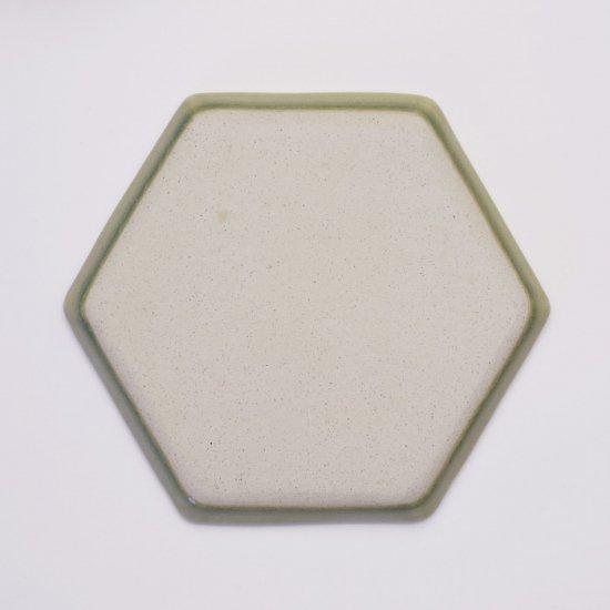 吉田健宗 | 青磁釉 和柄 六角皿 麻の葉