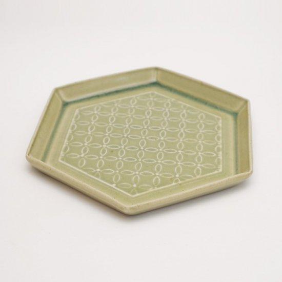 吉田健宗 | 青磁釉 和柄 六角皿 七宝繋ぎ