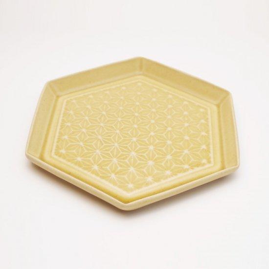 吉田健宗 | 深黄釉 和柄 六角皿 麻の葉