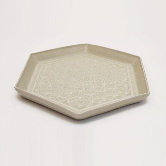 吉田健宗 | 灰釉 和柄 六角皿 麻の葉