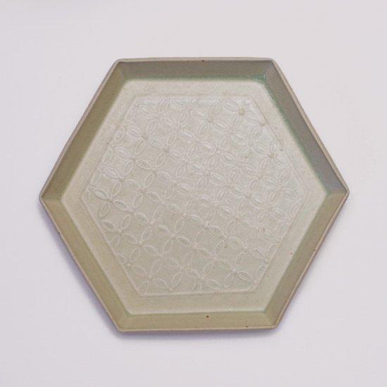 吉田健宗 | 灰釉 和柄 六角皿 七宝繋ぎ