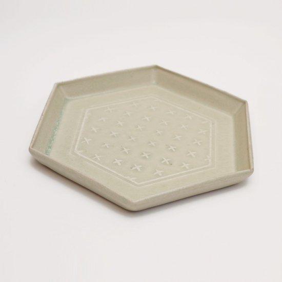 吉田健宗 | 灰釉 和柄 六角皿 十字絣