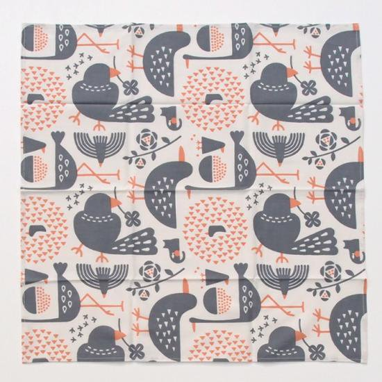 【クリックポストOK】nocogou(ノコゴウ)|手刷り生地のハンカチ・お弁当包み「鳥たち」