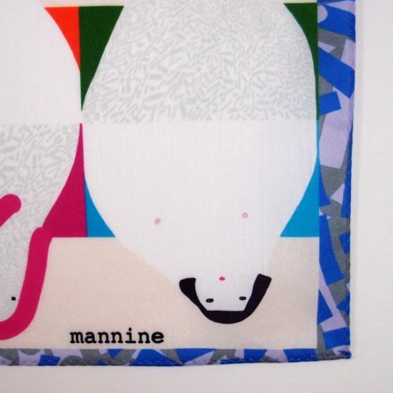 【クリックポストOK】mannine(マンナイン)|ハンカチ FACE BLUE